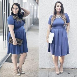 LuLaRoe Amelia Solid Blue Fit and Flare Dress XL